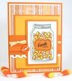 Friendship Jar - Candy Corn by justbehappy - Cards and Paper Crafts at Splitcoaststampers Card Making Inspiration, Making Ideas, Fall Cards, Holiday Cards, Mason Jar Cards, Mason Jars, Fall Paper Crafts, Paper Crafting, Halloween Cards