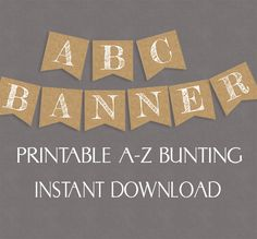 Rustic Banner, Burlap Effect Printable Alphabet and Numbers – Pixels and Pine Printables