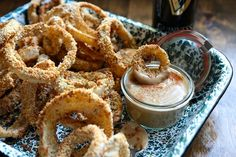 Tasty Kitchen Blog: Oven Fried Guinness Onion Rings with Stout Gravy. Guest post by Megan Keno of Wanna Be a Country Cleaver, recipe submitt...