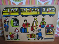 Vintage Wooden Jigsaw Puzzle Train Railway Station Conductor Luggage Travel Railroad Crossing Children Child Toy Craft Supply Gift 1980's by TeaCupCakeNL on Etsy