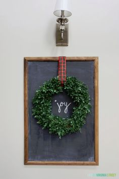 DIY Christmas Chalkboard. EASY project made from a poster frame! Love that you can change out the sayings seasonally.