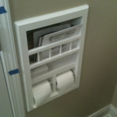 Added to a very small toilet area in a bathroom between the existing studs. Great spacesaver.