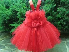 Tutu Dress RUBY RED LACE Red Dress First Birthday by ElsaSieron