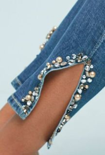 Dames Nobody Denim Clothes Crafts, Sewing Clothes, Formal Smart Casual, Jeans Refashion, Denim And Diamonds, Mode Jeans, Denim Ideas, Embellished Jeans, Scarf Dress