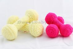 Toddler Weight Set  Stuffed Toy  Crochet Weights  by SweetBabyDesi This adorable crochet toddler weight set is perfect for your little one to get in shape by your side! No more distractions during your morning routine because now they can have a routine of their own! This set includes both weights, weighing approximately 4 ounces.