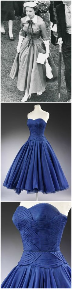 Ensemble by Jean Dessès, Paris, 1951, at the Victoria and Albert Museum, worn by H.R.H. Princess Margaret to the Ascot in 1953 (see black-and-white photo, via romanbenedikhanson on Flickr). Deep sea-blue, strapless dress in silk with curved pleats suggesting a stylized rendition of receding waves. Matching jacket in blue silk organza with white pique collar and cuffs on the elbow length sleeves, and buttoning up the front. Blue velvet ribbon around the waist.
