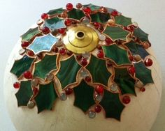 holly stained glass lampshade