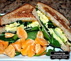 These scrambled egg sandwiches with baby spinach and melted cheese make a healthy meal you can serve in minutes.