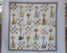 Scrappy Cat Quilt Pattern - For cat lovers everywhere.- This is the PDF version. Butterfly Quilt Pattern, Cat Quilt Patterns, Easy Quilt Patterns Free, Block Patterns, Quilting Room, Crazy Quilting, Quilting Ideas, Quilting Designs, Animal Quilts