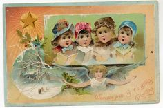 A Victorian trade card advertising Woolson Spice Co. on the front and Lion Coffee on the back. It pictures children singing hymns with an angel