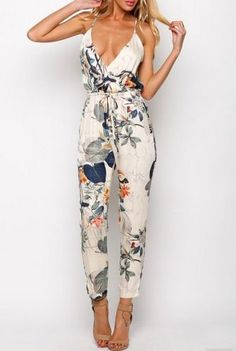 Stylish Spaghetti Strap Floral Print Backless Jumpsuit For Women Jumpsuits & Rompers Vintage Jumpsuit, Floral Jumpsuit, Navy Jumpsuit, Floral Romper, Ladies Jumpsuit, Looks Style, My Style, Casual Outfits, Summer Outfits