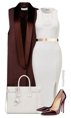 For a glam look, pair a white body-con dress with gold necklace, gold metal belt and brown sleeveless coat. Add brown pointy toe shoes and a white bag for maximum impact.. DIY the look yourself: http://mjtrends.com/pins.php?name=gold-belt-for-white-dress