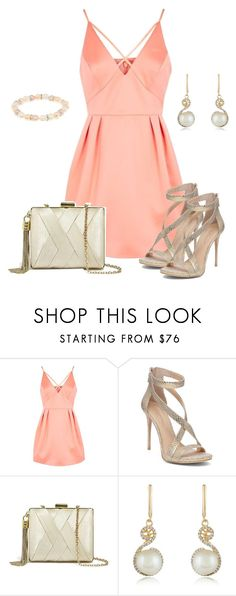 """Rose and gold outfit"" by lisait ❤ liked on Polyvore featuring Topshop, Imagine by Vince Camuto, GUESS by Marciano and Effy Jewelry"