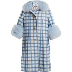 Saks Potts Yvonne fur-trimmed checked-wool coat ($1,263) ❤ liked on Polyvore featuring outerwear, coats, blue multi, vintage coats, saks potts coat, checked coat, leather-sleeve coats and checked wool coat