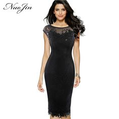 NuoJin Sexy Dress Women Sequins Crochet Butterfly Lace Sheath Party Evening Bridemaid Mother of Bride Special Occasion Dresses