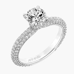 New for our Spring collection! Helena: Classic Diamond Engagement Ring with Pave Shank and Diamond Collar #artcarvedbridal #spring #whitegold #engagementring