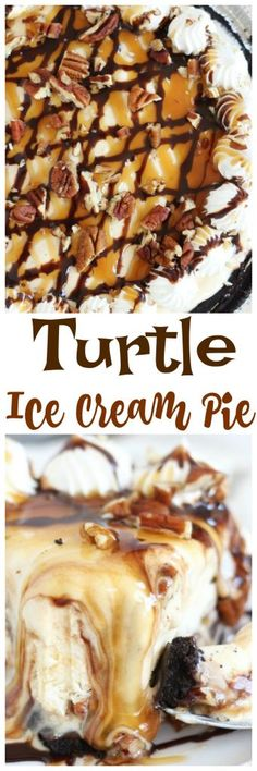 Layers of turtle ice cream, chocolate fudge sauce, caramel sauce, and pecans, in a chocolate cookie crust. This mile-high Turtle Ice Cream Pie is no-bake and super simple to throw together!