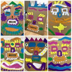 Making Masks with Cardboard-Kim & Karen: 2 Soul Sisters (Art Education Blog): Kindergarten Kids Make Masks!