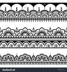Indian seamless pattern, design elements - Mehndi henna tattoo style by RedKoala #India
