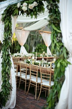 Wedding Decorations - Luxury Garden Wedding in Winter Park, Florida at Casa Feliz Wedding Reception Entrance, Wedding Receptions, Reception Decorations, Reception Ideas, Wedding Ceremony, Greek Party Decorations, Green Wedding Decorations, Table Decorations, Jardin Decor