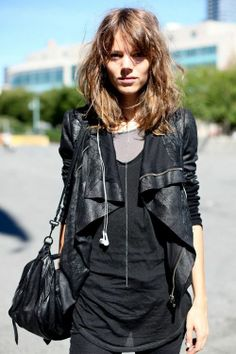 leather jacket perfection & sheer black tee
