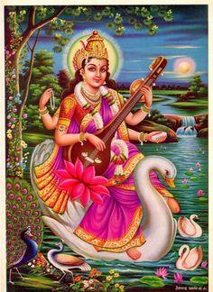 Saraswati Mata, Saraswati Goddess, Durga Kali, Kali Goddess, Saraswati Painting, Lakshmi Images, Lord Vishnu Wallpapers, Lord Murugan, Ganesha Art