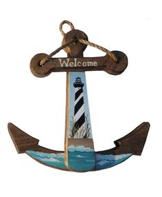 Handmade Wooden Anchor with Cape Hatteras Lighthouse, Made to Order - Stephanie's Handmade Favorites - Handmade Nautical Quilt, Nautical Theme, Nautical Anchor, Seaside Decor, Coastal Decor, Lighthouse Gifts, Lighthouse Decor, Anchor Crafts, Beachy Signs