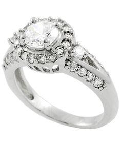 Tressa High-polish Sterling Silver Round-cut Cubic-zirconia Ring