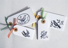 Hand,Stamped,Bird,Gift,Tags