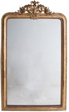 French 19th Century Louis Philippe Gold Gilt Crest Mirror