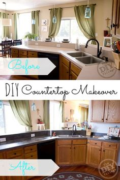 Concrete Countertop DIY Concrete Countertop Yes, please! Great DIY countertop makeovers that are doable and affordable! - Don't spend a fortune on new countertops! Try out one of these nine affordable DIY countertops and do your own countertop makeover! Diy Concrete Countertops, New Countertops, Countertop Paint, Backsplash, The Doors, Kitchen Redo, Kitchen Design, Kitchen Ideas, Rustic Kitchen