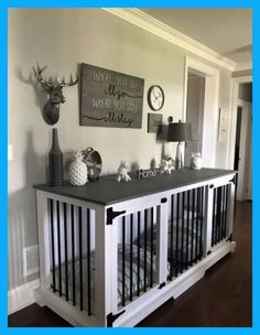 this diy dog crate furniture piece will transform your living room 23 ~ Home Design Ideas Dog Kennel End Table, Diy Dog Kennel, Kennel Ideas, Indoor Dog Kennels, Pet Kennels, Diy Kennel Indoor, Tv Stand Dog Kennel, Dog Kennel Designs, Building A Dog Kennel