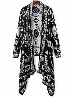 Black Tribal Geometric Print Knit Cape