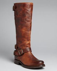 Frye Tall Buckled Strap Flat Boots - Veronica Back Zip | Bloomingdale's