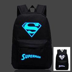 Superman S Logo Luminous Backpack Children Shoulder Travel School Bag New