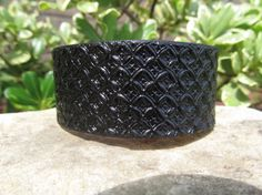 Leather Tooled Cuff Bracelet Black by SarahsArtistry on Etsy, $19.95