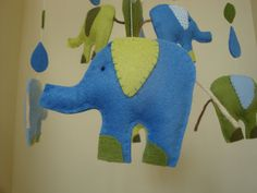 Mobile for baby boy, Eli Elephant in blues and greens.