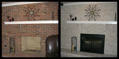 Brick-Anew! Fireplace Makeover  I wonder how hard this would be....