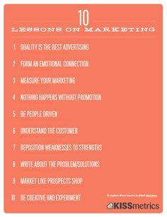 """1. """"La calidad es la mejor publicidad"""" (Milton Hershey, fundador de Hershey Chocolate Company).  2. """"Cree una conexión emocional"""" (Seth Godin, experto en marketing).  3. """"Si no mide, no está haciendo marketing"""" (Anónimo).  4. """"Nada sucede si no hay promoción"""" (P.T. Barnum, hombre de negocios estadounidense).  5. """"Motive a la gente"""" (Georgiana Laudi, directora de marketing de Unbounce"""".  6. """"Entienda al consumidor"""" (Peter F. Drucker, consultor).  7. """"Convierta sus debilidades en fortalezas""""…"""