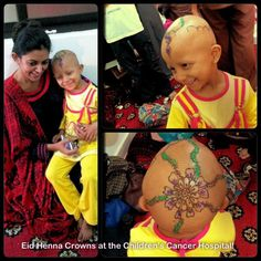 DESKTOP VIEW    glittery henna crown on a child cancer patient in chemotherapy