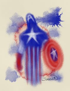 An abstract digital watercolor of the first Avenger, Captain America.