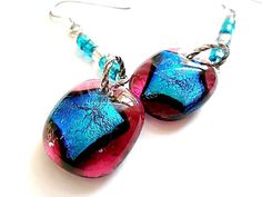 Dichroic Glass Earrings/Fused Glass by DarlenesGlassGarden on Etsy, $19.00