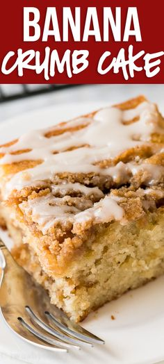 Nutritious Snack Tips For Equally Young Ones And Adults This Banana Crumb Cake Recipe Is A Moist And Tender Banana Cake With Layers Of Brown Sugar Crumb Topping And A Sweet Icing Drizzle. Banana Crumb Cake, Banana Chocolate Chip Muffins, Banana Cake Icing, Banana Cakes, Lava Cake Recipes, Banana Recipes, Best Banana Cake Recipe Moist, 13 Desserts, Dessert Recipes