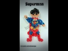 Rainbow Loom SUPERMAN Figure. Designed and loomed by Kate Schultz. Click photo for YouTube tutorial. 04/29/14.