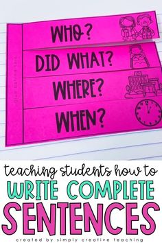 These writing complete sentences resources are perfect for teaching 1st grade, 2nd grade, and 3rd grade students how to write complete sentences. They include anchor charts, posters, worksheets, complete sentence centers, and more! Students will learn about subjects
