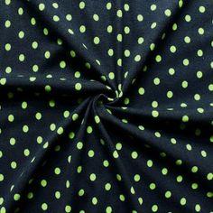 Baumwoll Stretch Jersey  Punkte klein  Farbe Dunkel-Blau Grün