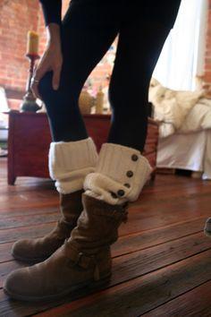 Cozy handmade, wool legwarmers under boots
