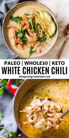 Delicious and creamy Paleo White Chicken Chili is an easy and comforting weeknight dinner that's compliant and full of flavor! Delicious and creamy Paleo White Chicken Chili is an easy and comforting weeknight dinner that's compliant and full of flavor! Paleo Soup, Paleo Chili, Keto Chicken Soup, Baked Chicken, Healthy Chicken Soup, Whole30 Chicken Salad, Low Carb Chili, Crispy Chicken, Whole 30 Recipes