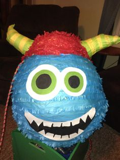 Monster Birthday Decorations, Monster Birthday Party, Monster Piñata homemade for Ethan's 2nd birthday party