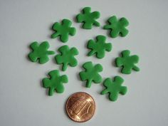 Mini Shamrock Four Leaf Clover Fondant Decorations perfect for Cupcake, Cakes and Cake Pops. $6.00, via Etsy.
